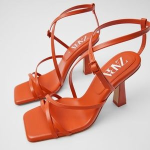 Zara Quilted insole strappy heeled leather sandals